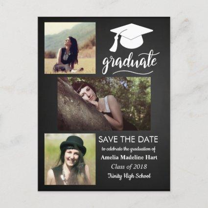 Chalkboard Graduate | Save The Date Three Photo Announcements Cards