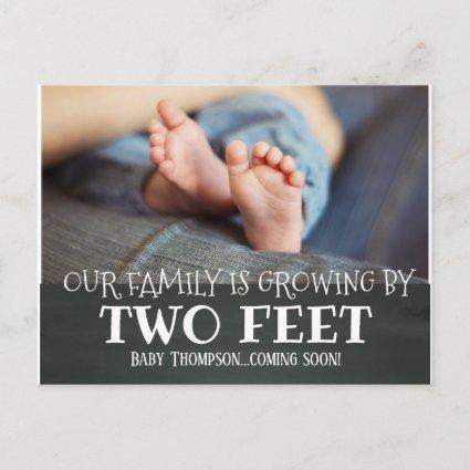 Chalkboard Growing by Two Feet Adoption New Baby Announcement