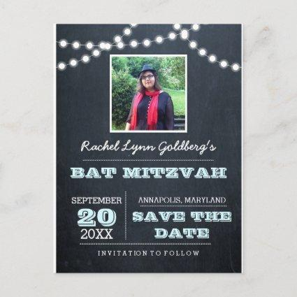 Chalkboard Lights Aqua Bat Mitzvah Photo Save Date Announcements Cards