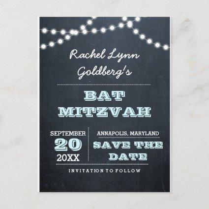 Chalkboard Lights Aqua Bat Mitzvah  Announcements Cards