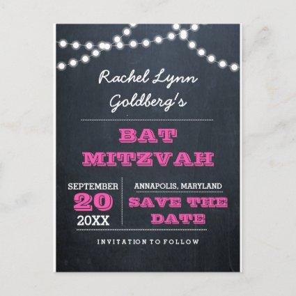 Chalkboard Lights Dark Pink Bat Mitzvah Save Date Announcements Cards