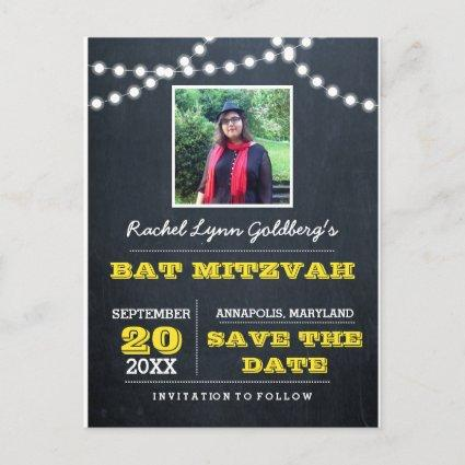 Chalkboard Lights Gold Bat Mitzvah Photo Save Date Announcement