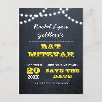 Chalkboard Lights Gold Bat Mitzvah Save the Date Announcement