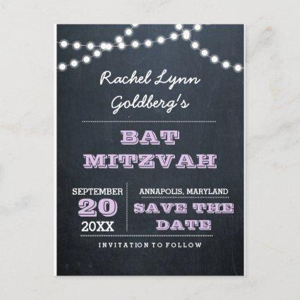 Chalkboard Lights Lilac Bat Mitzvah Save the Date Announcement