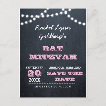 Chalkboard Lights Pink Bat Mitzvah Save the Date Announcements Cards
