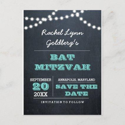 Chalkboard Lights Teal Bat Mitzvah  Announcements Cards