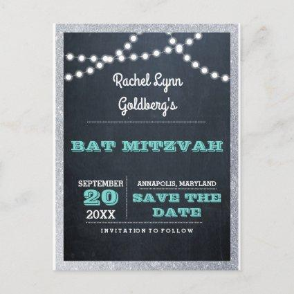 Chalkboard Lights Teal Silver Border Save the Date Announcements Cards