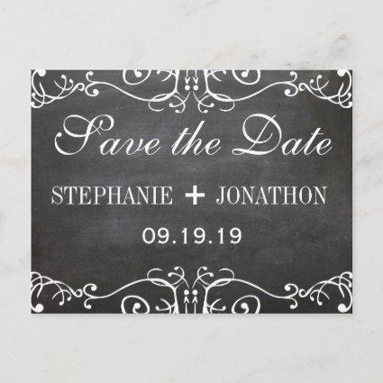 Chalkboard Mustache Lips Vintage Save the Date Announcement