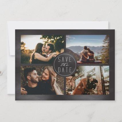 Chalkboard Photo Collage Modern Save The Date