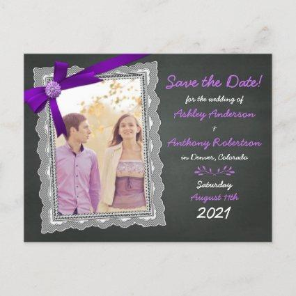 Chalkboard Purple Bow Photo Wedding Save the Date Announcement