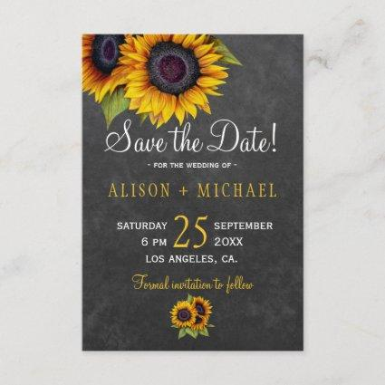 Chalkboard rustic sunflowers save the date wedding