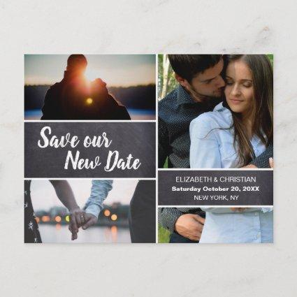 Chalkboard Save Our New date Photo Collage Wedding