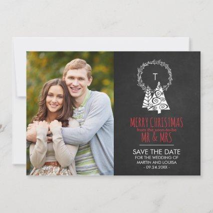 Chalkboard Save the Date Christmas Photo Card