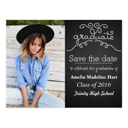 Chalkboard Script Graduate | Save The Date Photo Cards