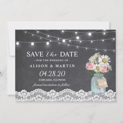 Chalkboard String Lights Lace Floral Save the Date
