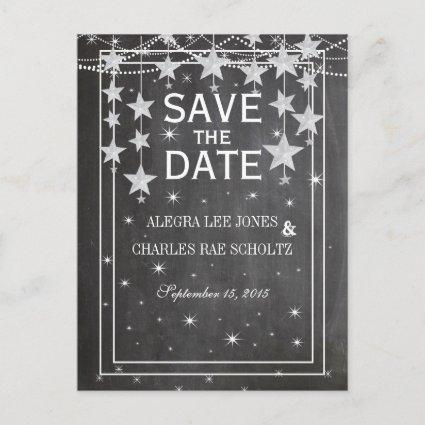 Chalkboard Under the Stars Vintage Save the Date Announcement