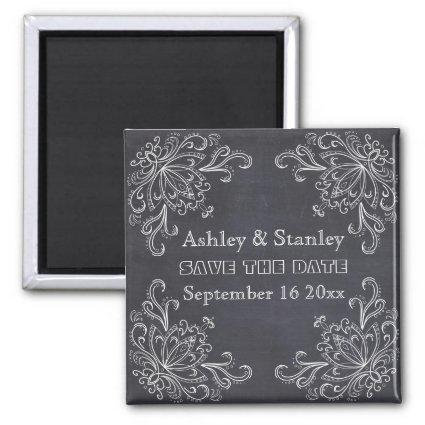 Chalkboard, vintage flourish wedding Save the Date Magnets