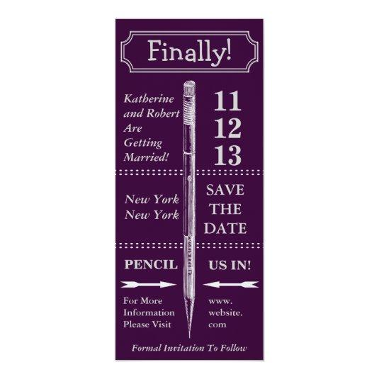Chalkboard Vintage Save The Date With Banner 4x9.25 Paper Invitation Card