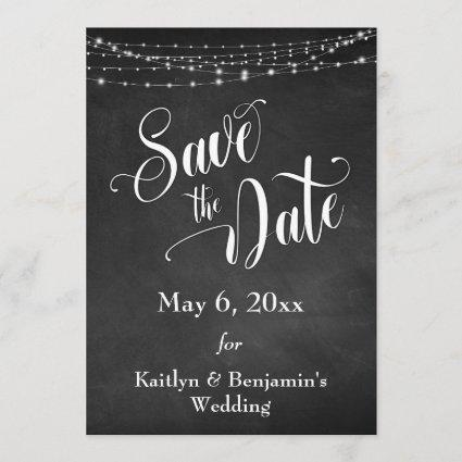 Chalkboard, White Lights & Script, Save the Date