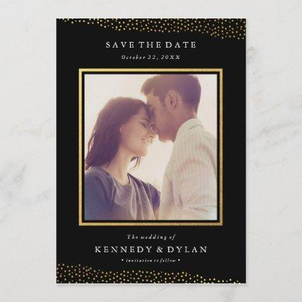 Champagne border faux foil save the date card