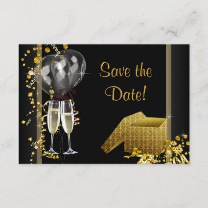 Champagne Confetti Black Gold Save The Date