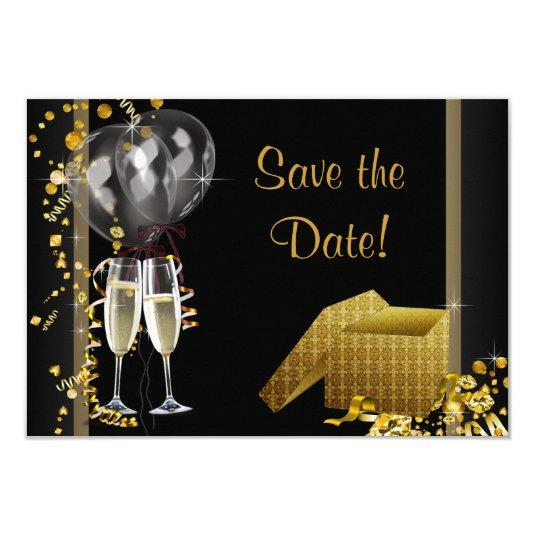 Champagne Confetti Black Gold Save The Date Card