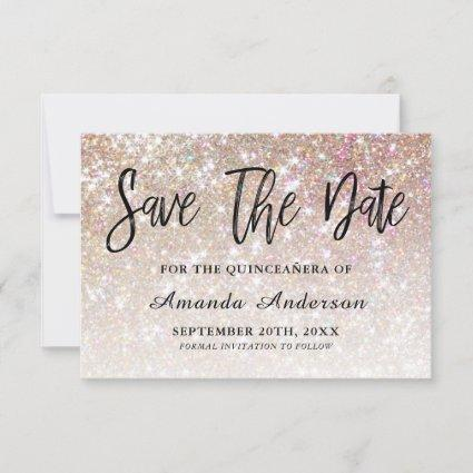 Champagne Glitter Brush Script  Quinceanera Save The Date