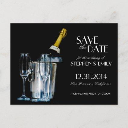 Champagne New Years Eve Formal Save the Date Announcement