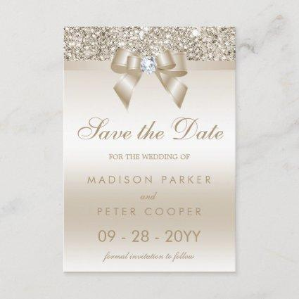 Champagne Sequins Diamond Bow Save The Date