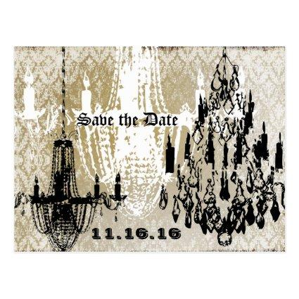 Chandelier Gold Black and White Distressed Damask Cards