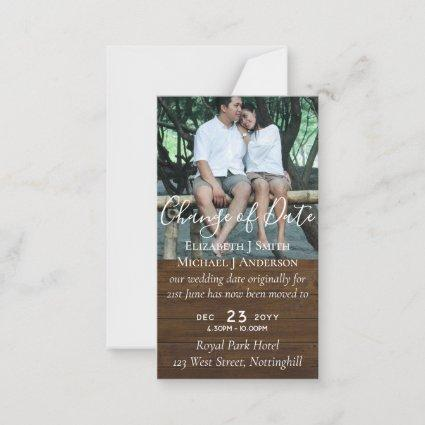 Change of Date Wedding Postponement Photo Rustic Advice Card