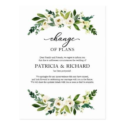 Change Of Plans Greenery Wedding Postponement