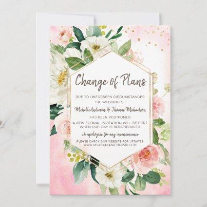 Change of Plans Wedding Watercolor Floral Pink Save The Date