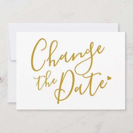 Change the Date Bridal Shower Chic Gold Script Save The Date
