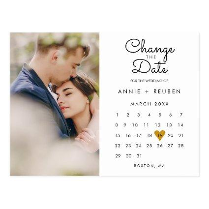 Change the Date Calendar Gold Love Heart Photo
