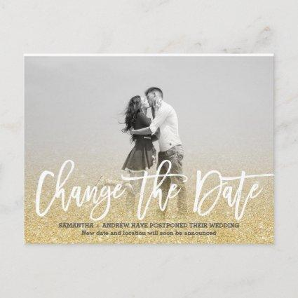 Change the Date chic gold glitter photo wedding Announcement
