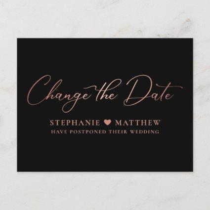 Change the Date Elegant Rose Gold Script Black Announcement