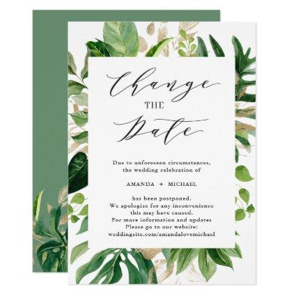 Change the Date Greenery Tropical Palm Leaves Invitation