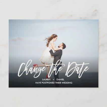 CHANGE THE DATE Modern calligraphy landscape photo Announcement