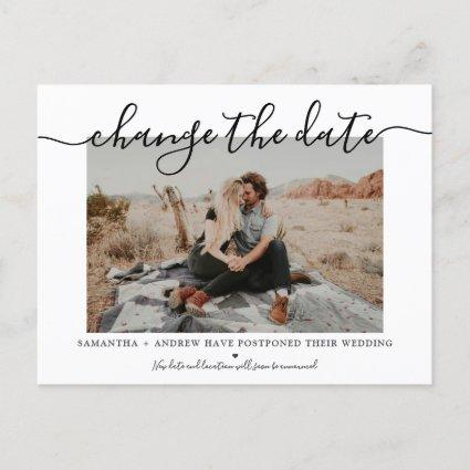 Change the date modern chic typography photo announcement