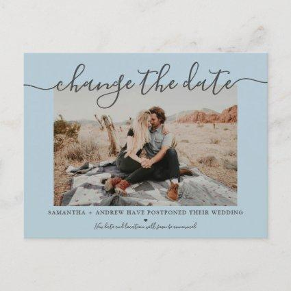 Change the date modern dusty blue typography photo announcement