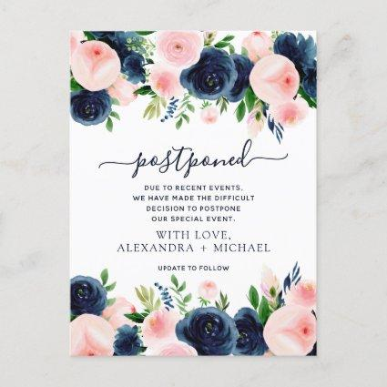 Change the Date Navy Blue Blush Pink Floral Announcement