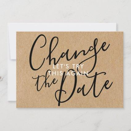 Change the Date Postponed Cancelled Event Rustic Save The Date