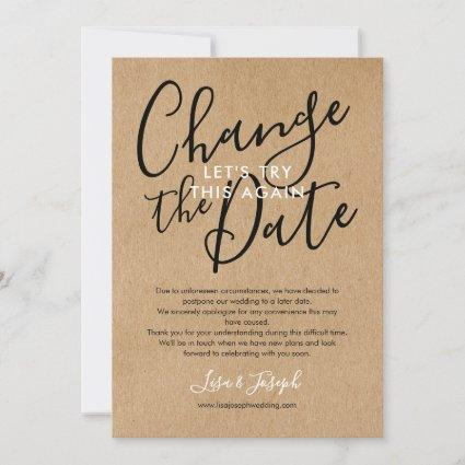 Change the Date Postponed Cancelled Rustic Photo Save The Date