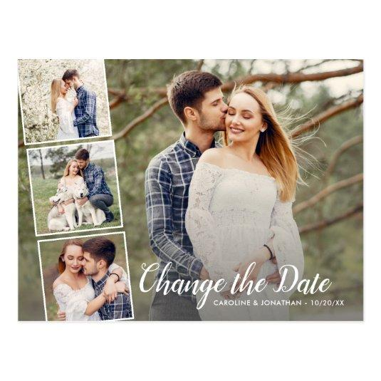 Change the Date Postponed Wedding 4 Photo Collage