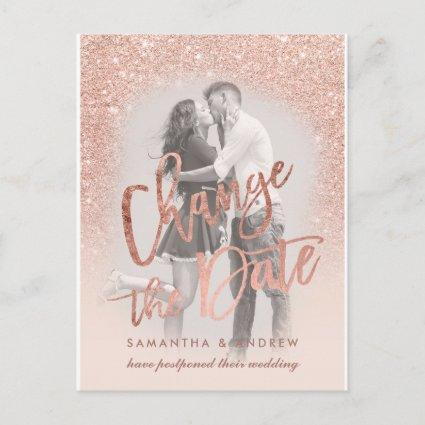 Change the Date rose gold glitter script photo Announcement