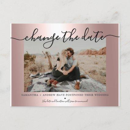 Change the date rose gold metallic script photo announcement