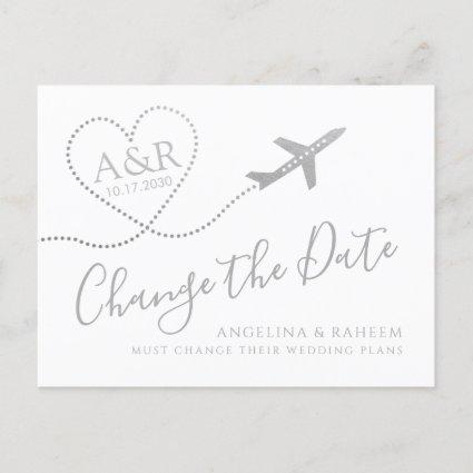 Change the Date Silver Travel Destination Wedding Announcement