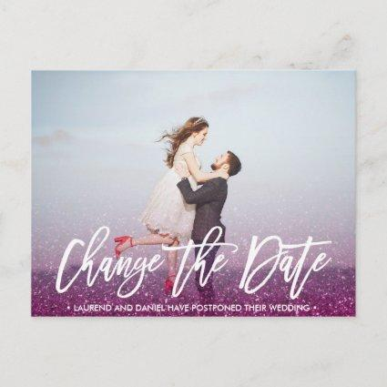 CHANGE THE DATE typography Glitter Purple photo Announcement