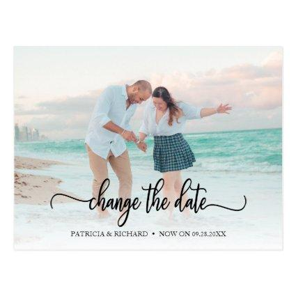 Change The Date Wedding Postponed Chic Script